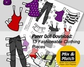 Paper Doll Fashions to Print- Digital Download-Fashion Paper Doll - Dress up Doll- Paper Craft Printable- Digital Download Paper Dolls