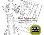 Steampunk Paper Doll- Mix & Match Digital Paper Doll Clothing Download- Printable Paper Doll Coloring Page- Steampunk Coloring Sheet