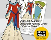 Medieval Princess Gowns- Mix & Match Digital Paper Doll Clothing Download- Printable Paper Doll Clothing- Medieval Dresses for Paper Dolls