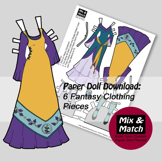Fantasy Dolls Dresses- Fantasy Art to Download and Print- Printable Dress Up- Cut Out Doll Download- PDF Printable Download