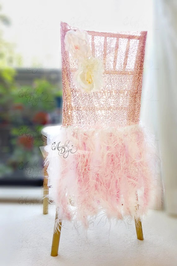 chair covers rose gold bjs folding chairs ostrich feather sequin sparkle etsy image 0