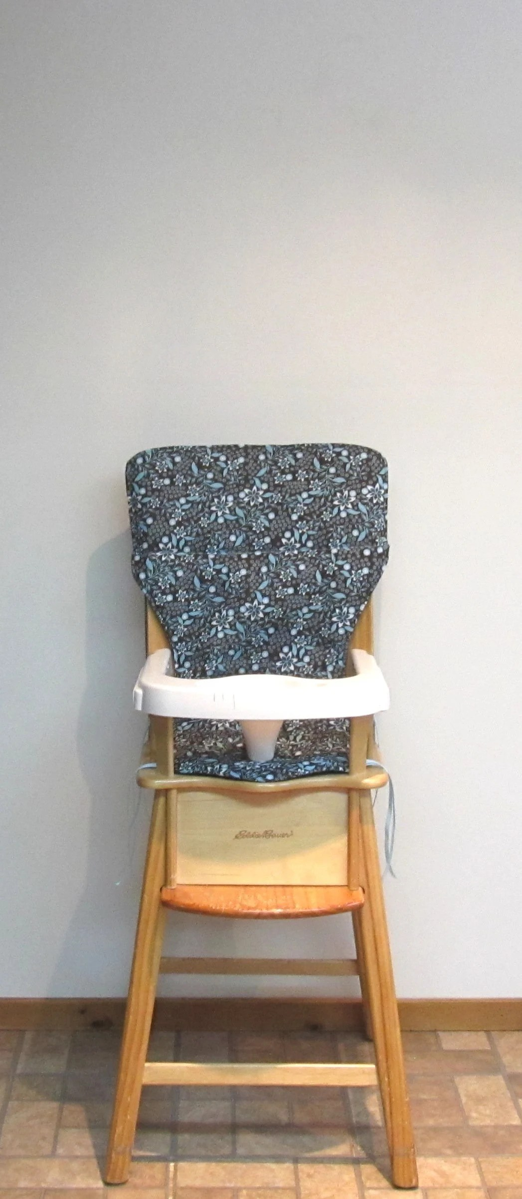 eddie bauer wood high chair swivel hunting reviews cover etsy wooden replacement pad for old style seafoam flowers on dark chocolate cushion baby accessory