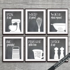 Art For Kitchen Table With Leaf Insert Funny Etsy Print Set Mixer Whisk Colander Grater Measuring Cup Spices Of 6 Featured On Blackboard