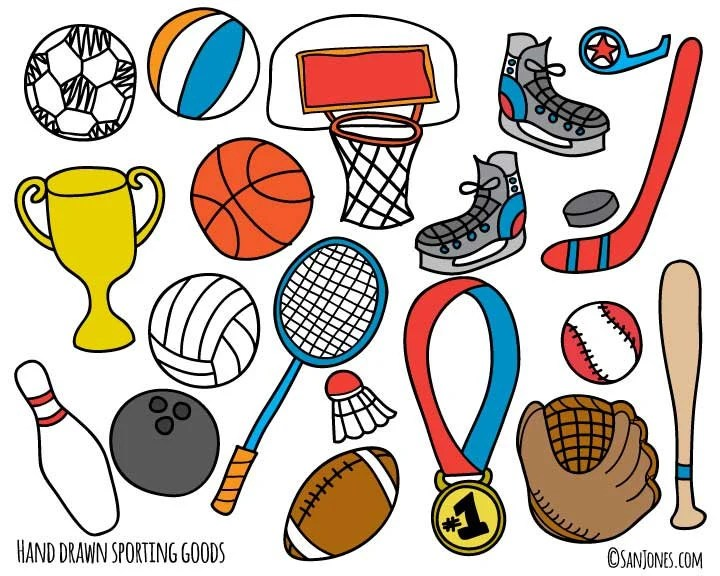 5896 best vector sports clipart free download ✓ free vector download for commercial use in ai, eps, cdr, svg vector illustration graphic art design format. Sports Clip Art Hand Drawn Clip Art Sporting Goods Clip | Etsy