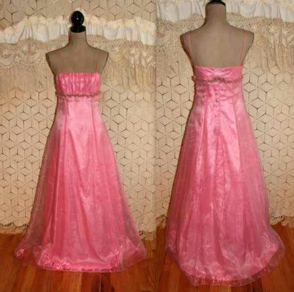 Vintage 80s Formal Dress Pink Prom Xs Floor Length