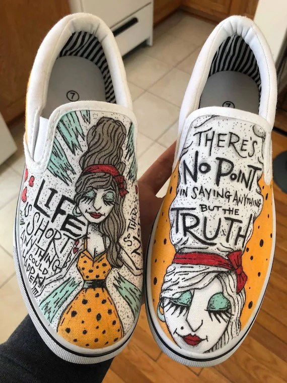 Drawing On Vans : drawing, Custom, Shoes, Drawn, White