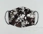 Preorder Black Seamless Flora Mask Cover ~ Wedding Double Gauze Mask ~ Groom Cotton Mask ~ Reusable Mask Cover ~ Washable Mask Cover