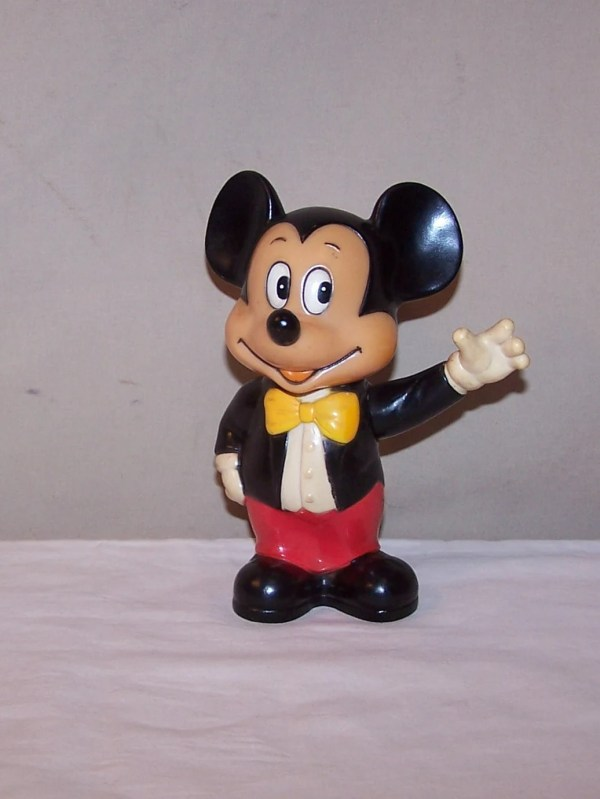 Vintage Mickey Mouse Coin Bank Hard Rubber Disney