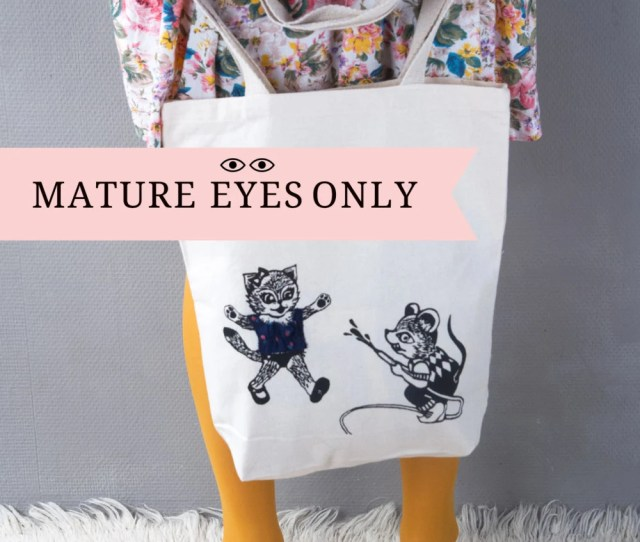 Funny Tote Bag Cat And Mouse Original Gift Idea Cheeky Illustration Naughty And Nice Shopping Bag Fancy Bag Boobs Hidden Under T Shirt