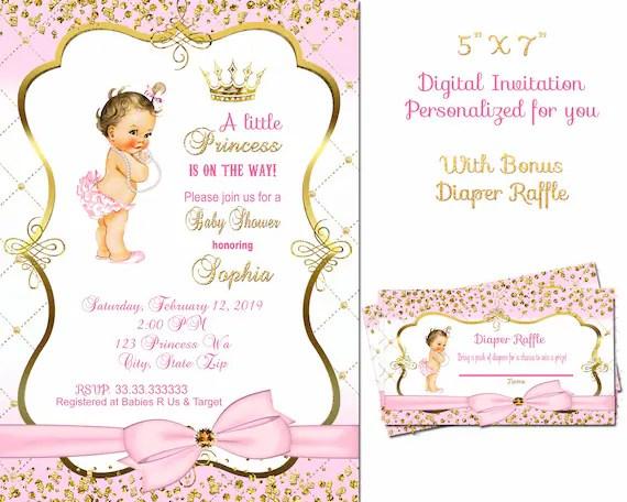 princess baby shower invitation vintage baby girl invitation royal baby shower invitation tickled pink thank you sprinkle