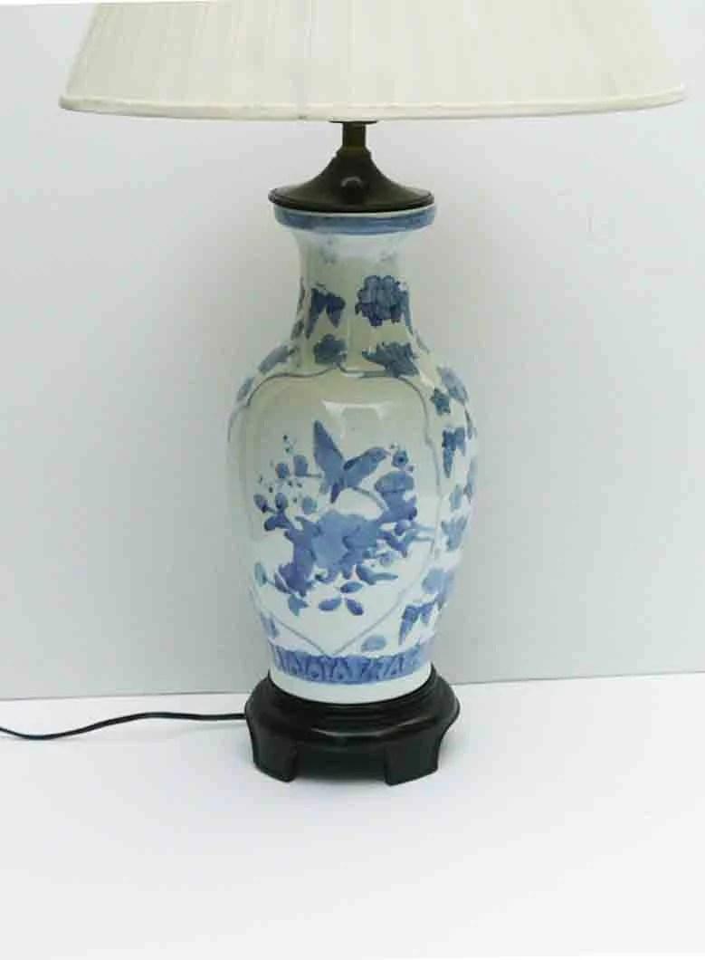 Vintage Ginger Jar Lamp Blue White Light Asian Birds Etsy