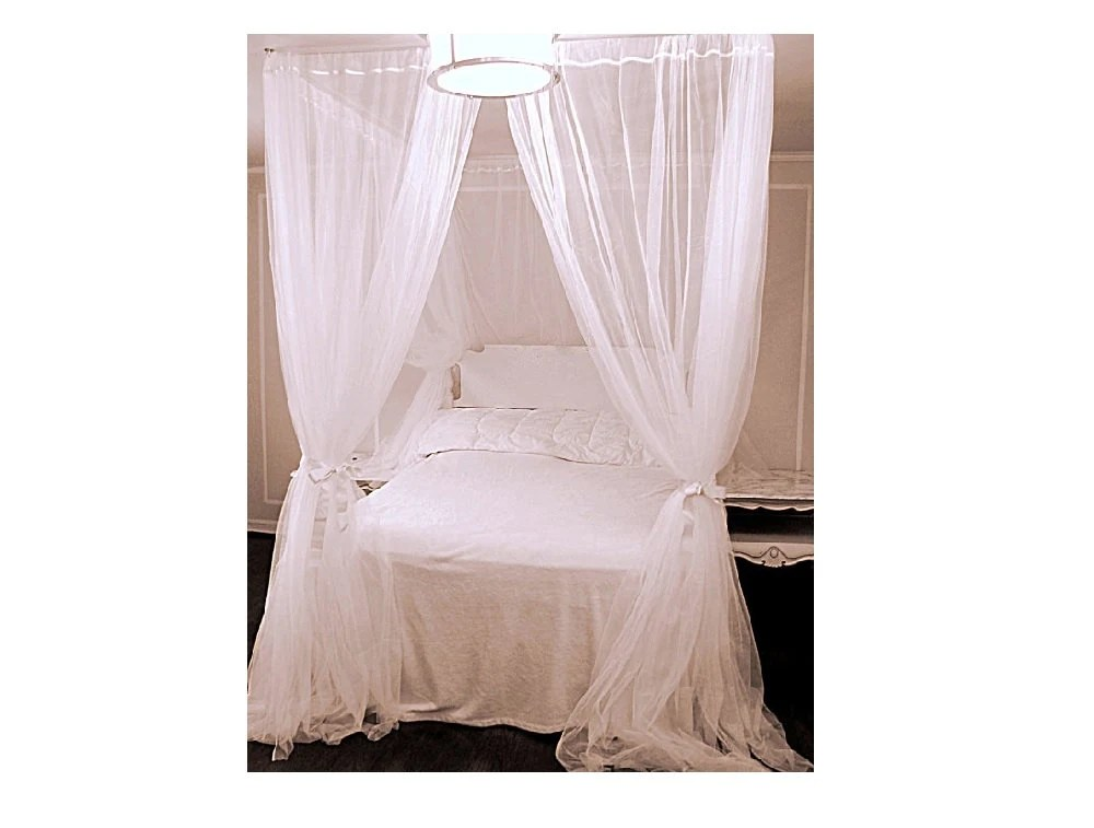 white twin bed canopy with chiffon curtains four poster bed panels curtained bedroom drapery princess bed accessory sheer fabric curtained