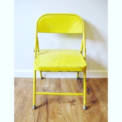 Krueger Folding Chairs Office Chair Mat Bamboo Bright Yellow Distressed Metal Kids By Etsy