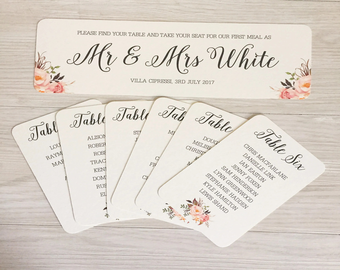 Wedding table plan cards blush seating chart inidual also etsy rh