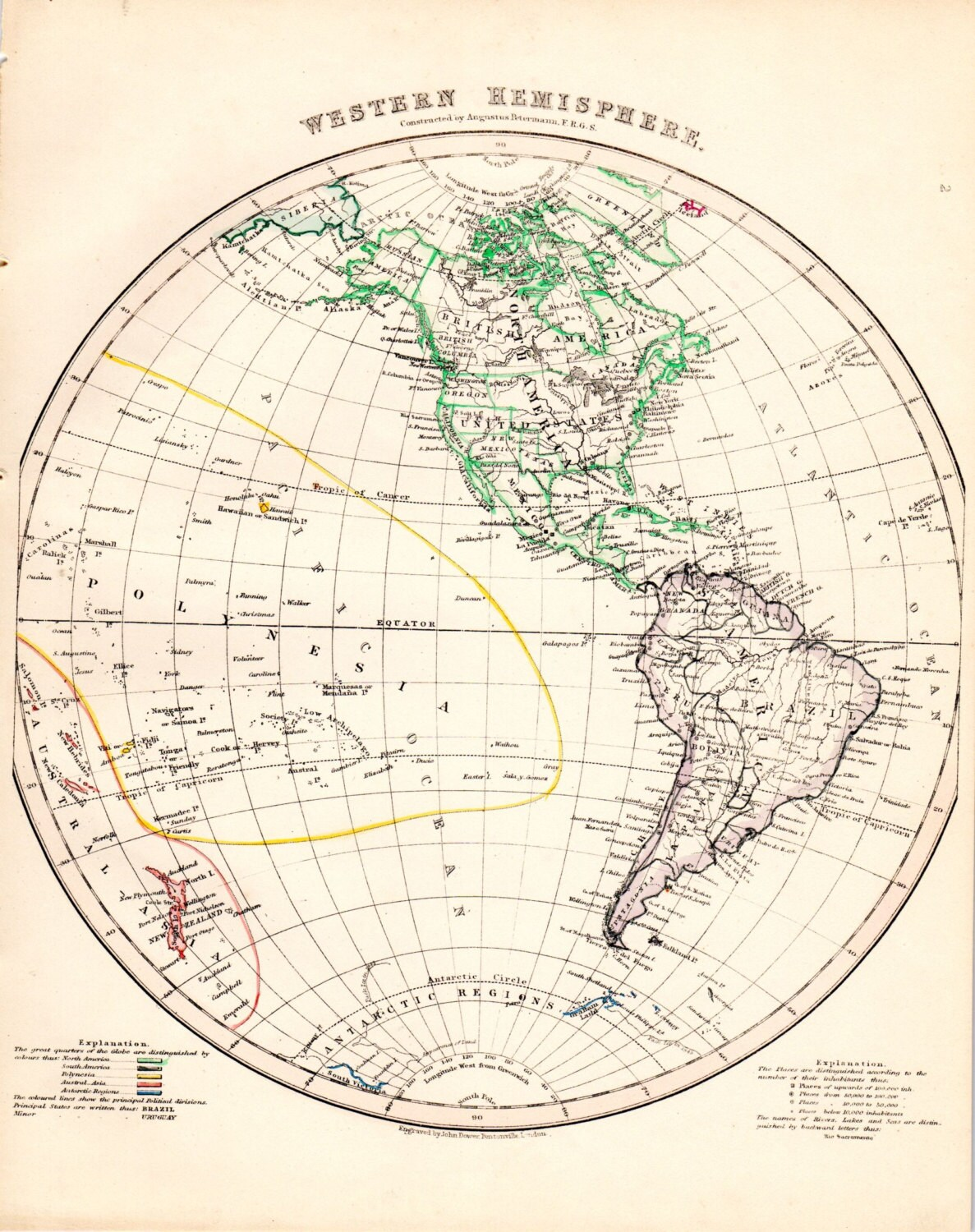 Western Hemisphere Globe Antique Map Hand Colored