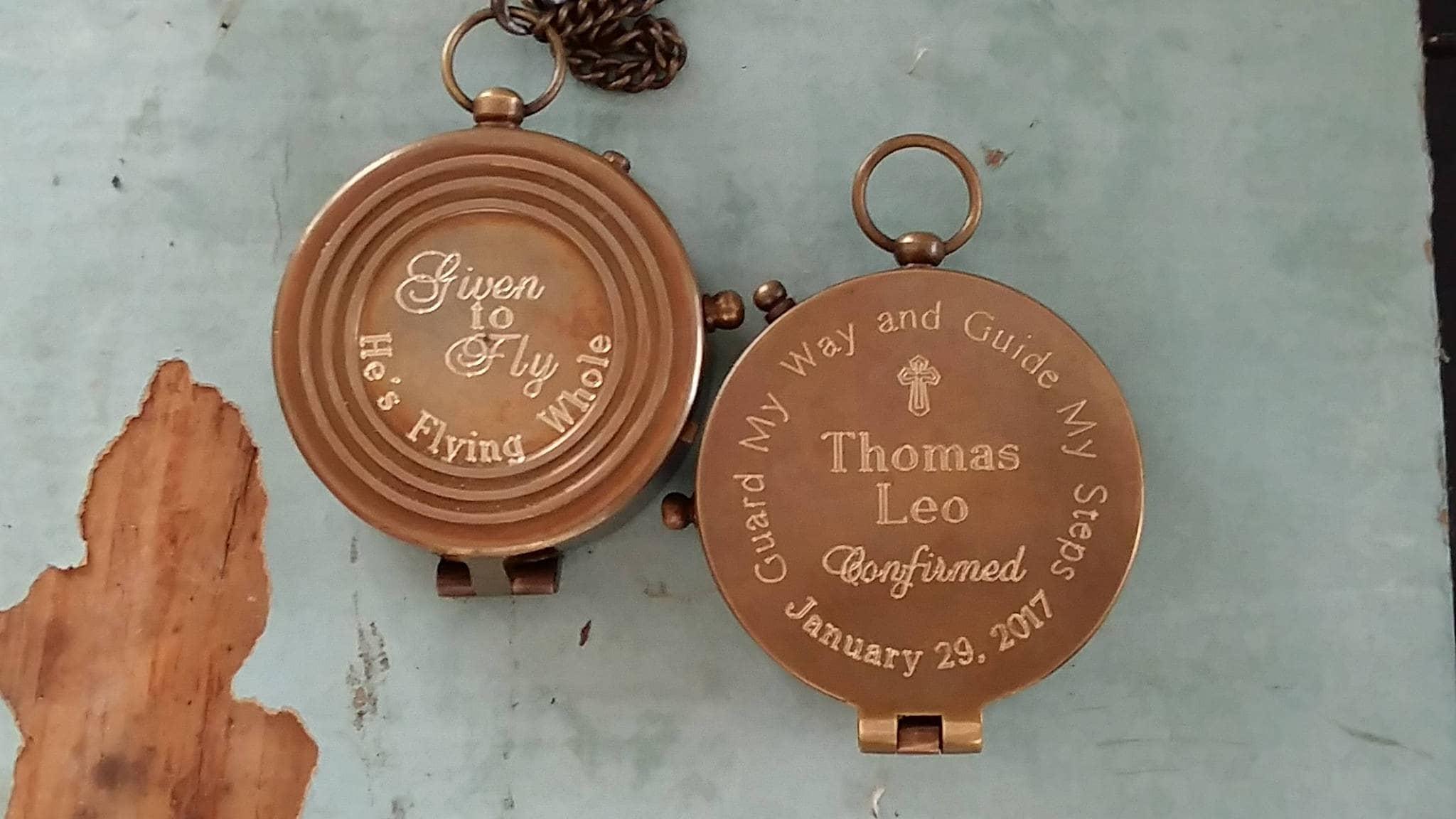 Engraved Compass Baptism Compass Boy Engraved Compass image 4