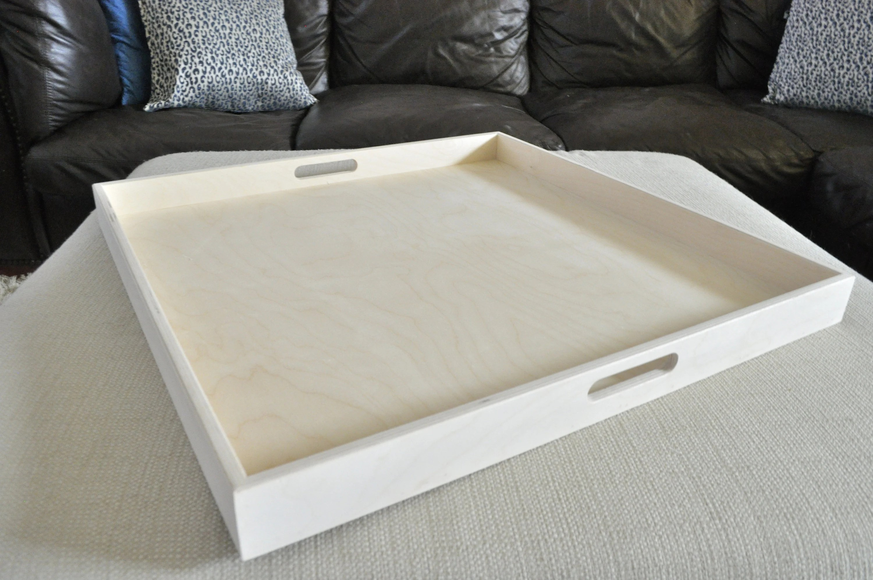 20 to 40 raw square extra large ottoman tray