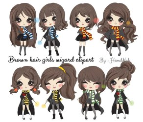 Brown hair wizard girls Clip art instant download PNG file Etsy