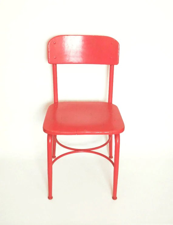 desk chair made staples folding chairs vintage 40 s 50 red school by etsy image 0