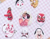 Japanese mask sticker set 8 vinyl stickers Japan themed