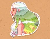 VINYL STICKER - Watercolor Mountain girl Sticker