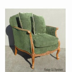 French Velvet Chair Massage Seattle Etsy Vintage Louis Xv Style Forest Green Arm