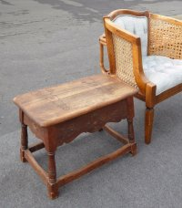Antique French Country William & Mary Wood Bench w Storage ...