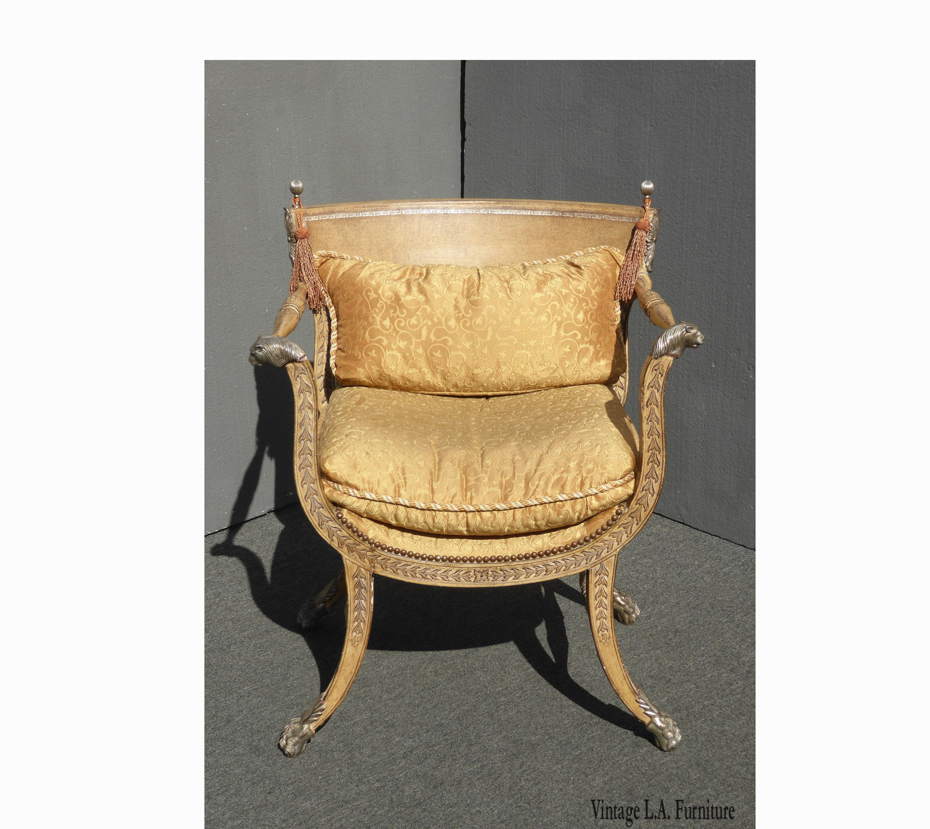 Vintage Accent Chair Vintage Ferguson Copeland Ltd Gold Leather Accent Chair W Lion