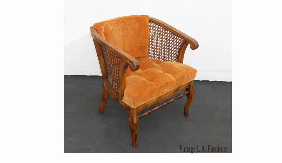 tub accent chair high tray cover disposable vintage french orange tufted cane club etsy image 0
