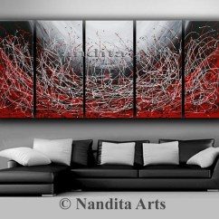 Contemporary Artwork Living Room Ideas Brown And Cream Sofa Painting Extra Large Modern Red Wall Art Abstract Etsy 50