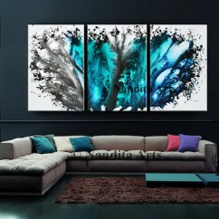 Modern Artwork For Living Room Feng Shui Small Oil Blue Art Abstract Painting Large Wall Etsy Image 0
