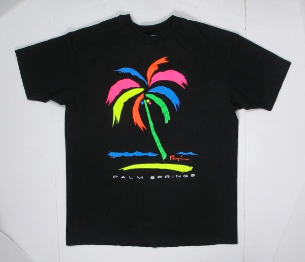 80s 90s Palm Springs T Shirt Graphic Tee Black Neon Trees