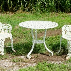 Antique Cast Iron Garden Table And Chairs White Wooden Rocking Chair Patio Furniture Etsy Set