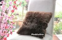 17x17 Brown Luxury Shaggy Fur Pillows Faux Fake Fur Pillow ...