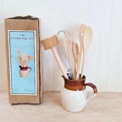 Kitchen Tool Crock Copper Door Handles Vintage With Utensils Wooden Pitcher Etsy Image 0