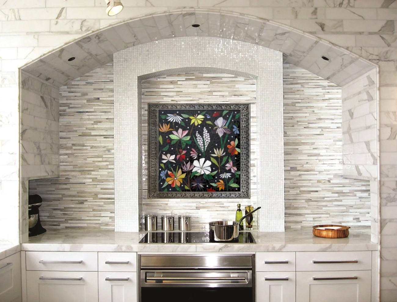 kitchen mosaic lowes stoves custom backsplash art hand cut stained glass etsy image 0