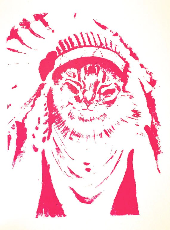Cat Chief First Settler Native American Fuchsia Print Silk Screen Handmade Indian Kitten Desert Moon Headdress