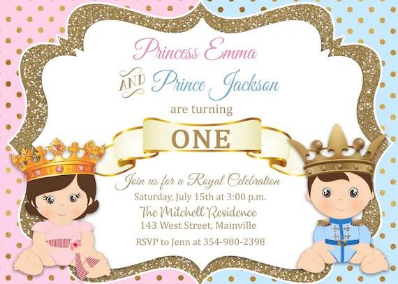 prince princess birthday invitation twins first birthday 1st birthday boy girl prince princess gold invitation digital or printed