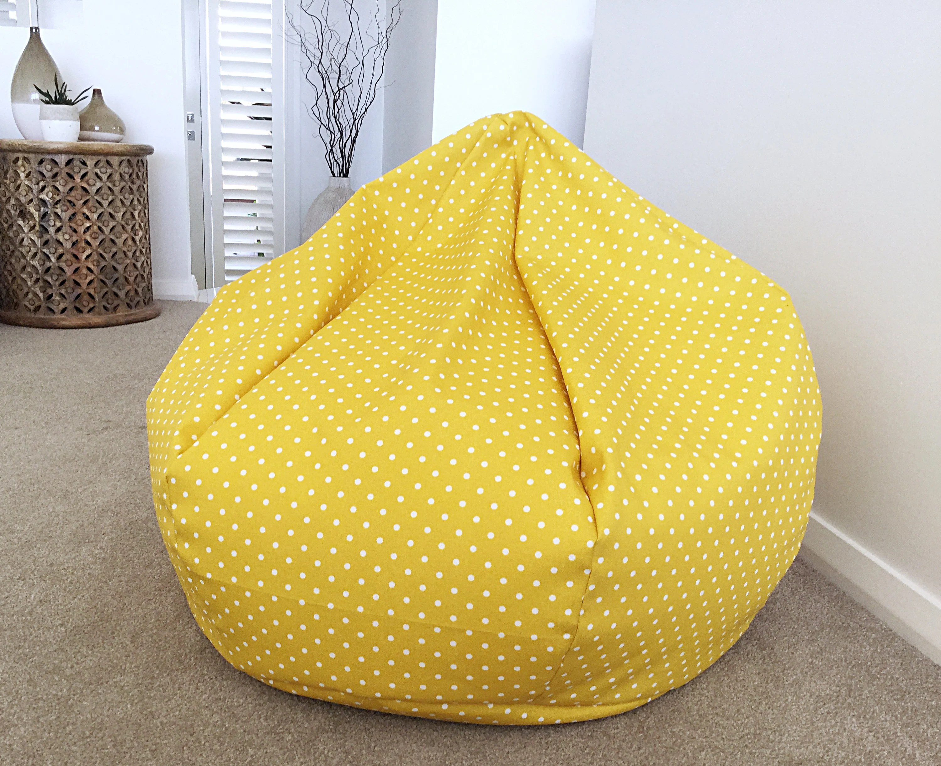 Bean Bag Chair Covers Only Bean Bag Cover Indoor Outdoor Bean Bag Polka Dots Kids Adults Bean Bag Cover Indoor Outdoor Bean Bag Yellow Polka Dot Bean Bag