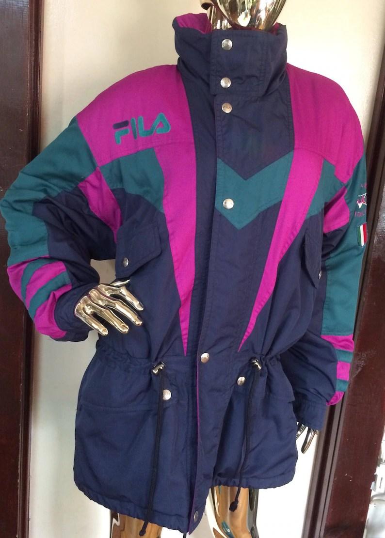 2eac4d563d3e Vintage Fila Ski Team Italia Blue Jacket Coat Rare 80 S Retro Thermal Logo