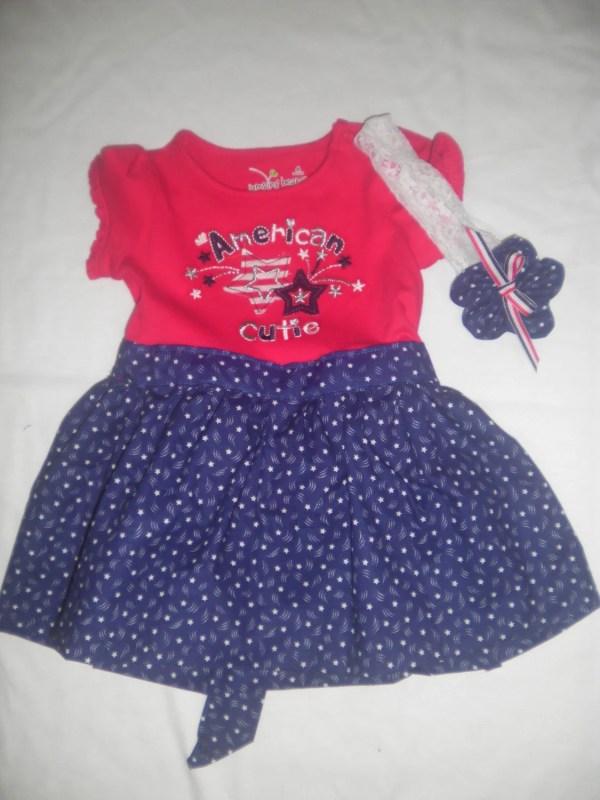 American Baby Onesie T-shirt Dress With Ruffled Bum And