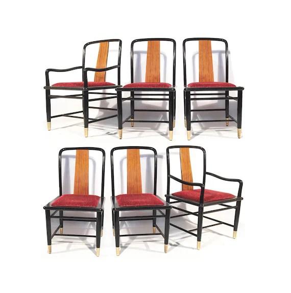 henredon asian dining chairs cane barrel back chair set of six chinoiserie elan koa wood etsy image 0