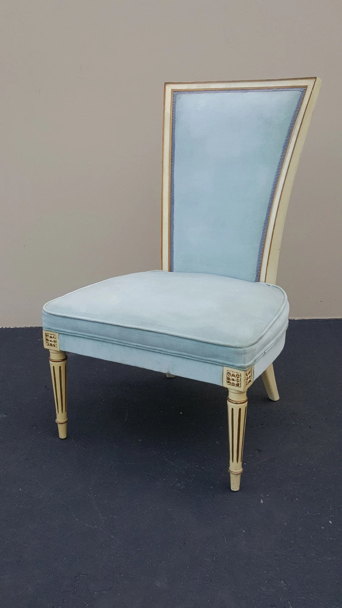 Velvet Slipper Chair Hollywood Regency Slipper Chair Vintage Italian Slipper Chair Boudoir Chair Pale Blue Velvet Chair Antique Gold Accent Excellent Condition