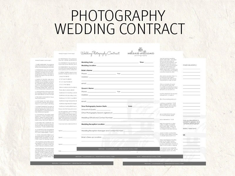Wedding Photography contract business forms flowers