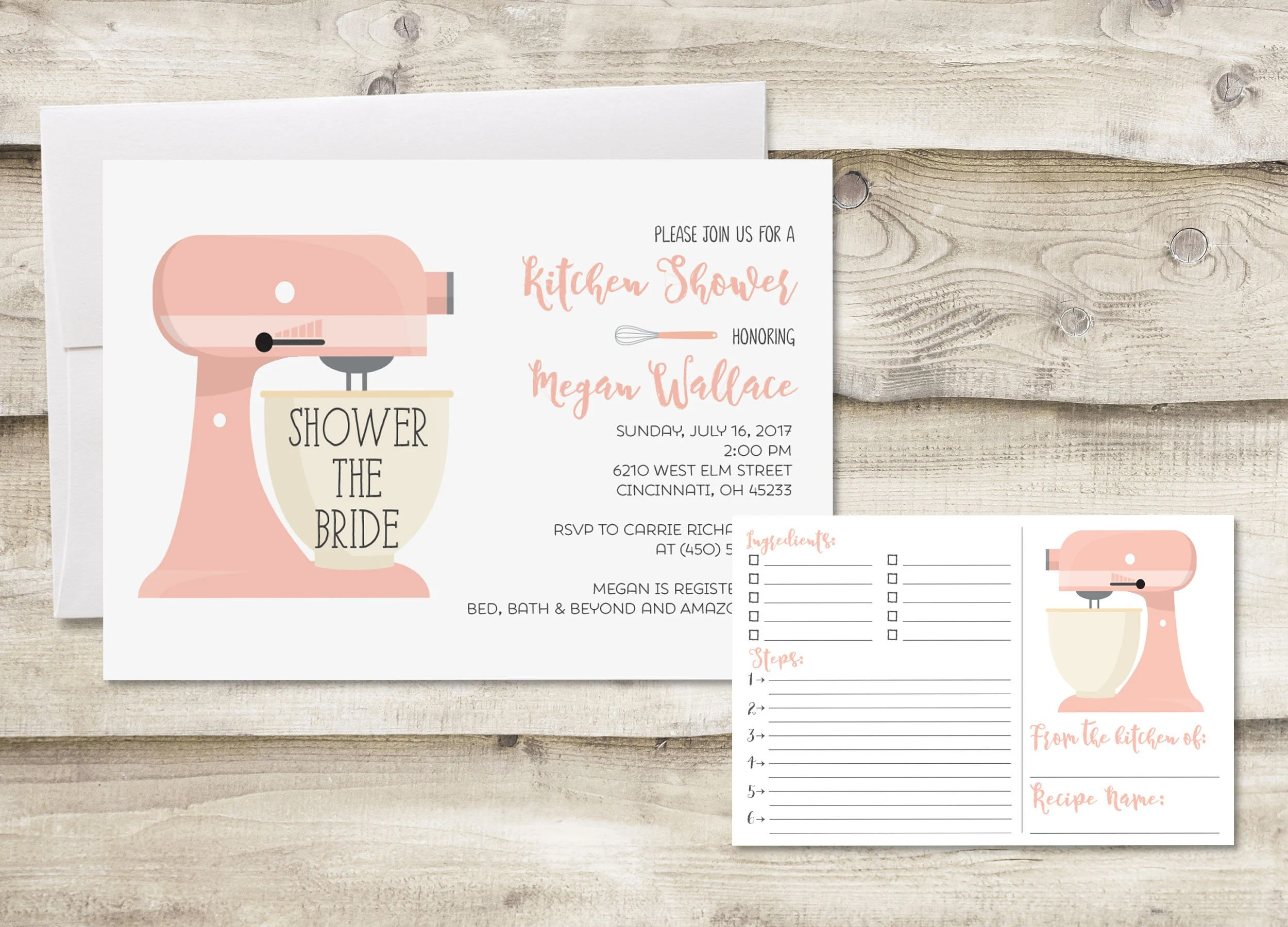 kitchen bridal shower storage cabinet etsy recipe card invitation cards for digital