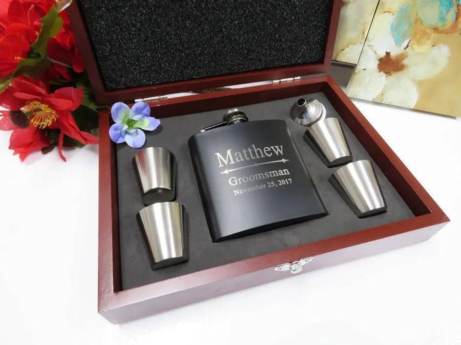 personalized flask groomsmen gift