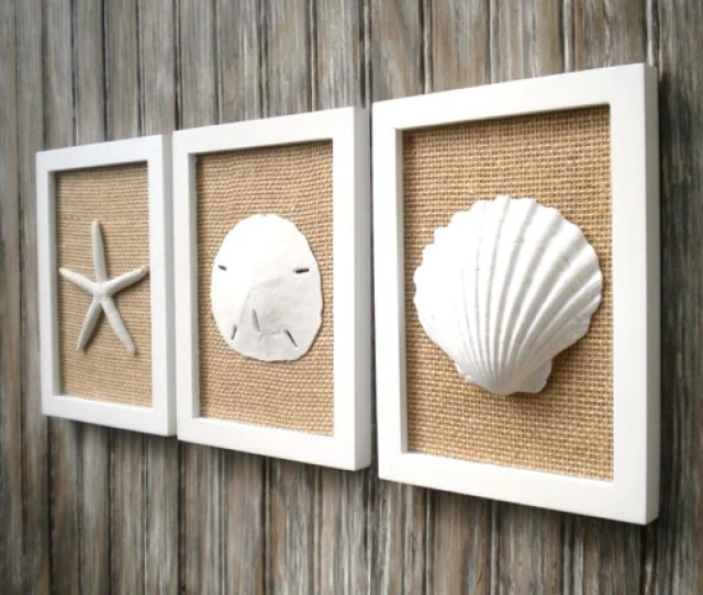 Cottage Chic Set Of Beach Decor Wall Art Sea Shell Home Etsy