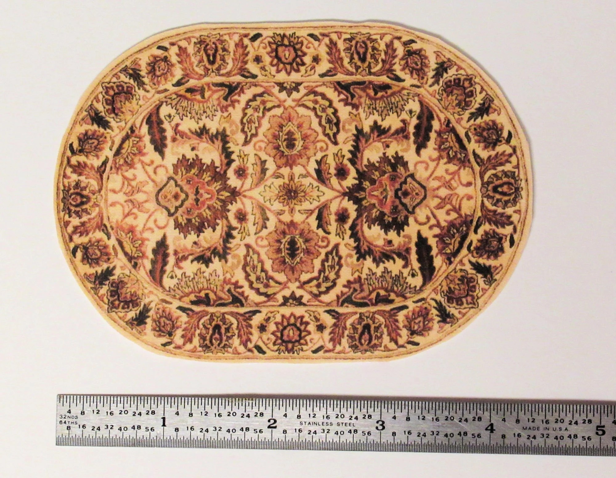 Oval Oriental Rug On Ivory Background With Autumn Motifs 3 X 4 5 Inches 1 12 Scale Miniature Handmade Usa
