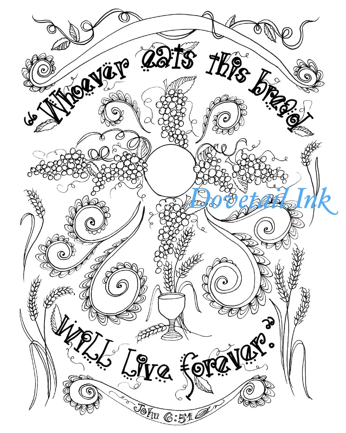 Printable Bread of Life Catholic Scripture Art Coloring