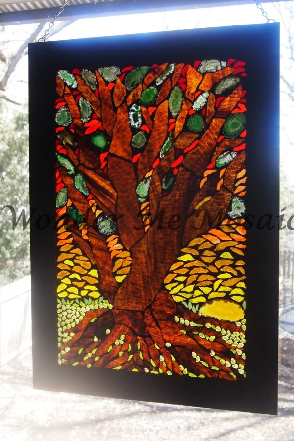 Stained Glass Mosaic Large Bonsai Tree Sunset